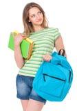 Muchacha del estudiante con la mochila Foto de archivo