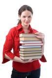 Muchacha del estudiante con los libros Fotos de archivo