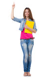 Muchacha del estudiante con los libros aislados en blanco Imagen de archivo libre de regalías