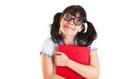 Muchacha del estudiante del empollón con los libros de textos Imagen de archivo libre de regalías
