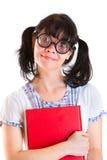 Muchacha del estudiante del empollón con los libros de textos Fotos de archivo