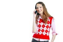 Muchacha del estudiante en el teléfono Imágenes de archivo libres de regalías