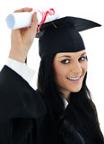 Muchacha del estudiante en un vestido académico, Fotografía de archivo