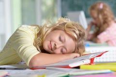 Muchacha del estudiante que duerme en los libros Fotos de archivo