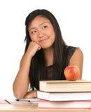 Muchacha del estudiante que soña despierto Foto de archivo