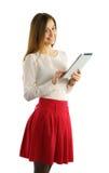 Muchacha del estudiante que usa la PC de la tableta Foto de archivo