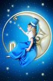 Muchacha del Fairy-tale en la luna Imagenes de archivo