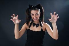 Muchacha del gato fotografía de archivo libre de regalías