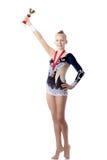 Muchacha del gimnasta del campeón con el premio Foto de archivo libre de regalías