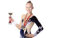 Muchacha del gimnasta del ganador Imagenes de archivo
