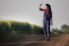 Muchacha del granjero en campo de trigo fotografía de archivo