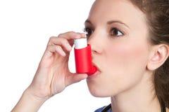 Muchacha del inhalador del asma Imagen de archivo libre de regalías