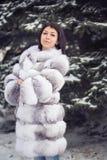 Muchacha del invierno en abrigo de pieles de lujo Fotografía de archivo