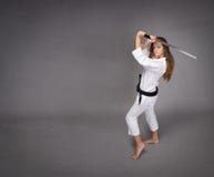 Muchacha del judo lista para defender Imagenes de archivo