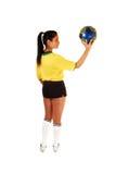 Muchacha del jugador de fútbol. Foto de archivo libre de regalías
