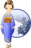 Muchacha del kimono del invierno Imagen de archivo