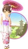 Muchacha del kimono del verano Foto de archivo libre de regalías