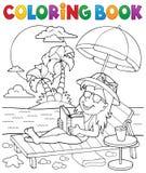 Muchacha del libro de colorear en el tema 2 del sunlounger Imágenes de archivo libres de regalías
