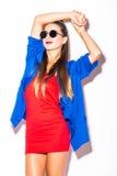 Muchacha del modelo de moda sobre el fondo blanco Imagen de archivo libre de regalías