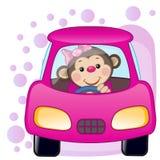 Muchacha del mono en un coche Foto de archivo libre de regalías
