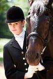 Muchacha del montar a caballo de lomo de caballo Fotografía de archivo libre de regalías