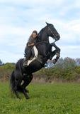 Muchacha del montar a caballo y semental negro Imágenes de archivo libres de regalías