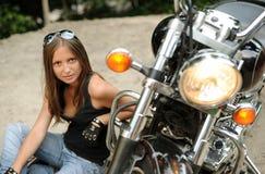 Muchacha del motorista Imagen de archivo libre de regalías