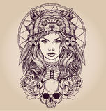 Muchacha del nativo americano con el tocado del lobo stock de ilustración
