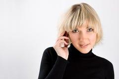 Muchacha del negocio en el teléfono Fotografía de archivo libre de regalías