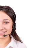Muchacha del negocio que trabaja en un centro de atención telefónica Imagen de archivo libre de regalías