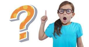 Muchacha del niño con el signo de interrogación fresco enrrollado imagen de archivo libre de regalías