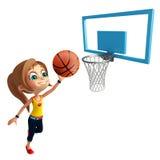 Muchacha del niño con jugar la bola de la cesta stock de ilustración