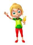 Muchacha del niño con Juice Glass stock de ilustración