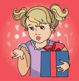 Muchacha del niño con la caja de regalo Fotos de archivo
