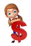 Muchacha del niño con la muestra de dólar Foto de archivo