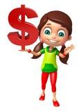 Muchacha del niño con la muestra de dólar Imagen de archivo