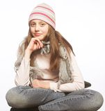 Muchacha del niño con ropa del invierno Fotografía de archivo
