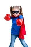 Muchacha del niño del super héroe con los guantes de boxeo Imagen de archivo libre de regalías