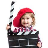 Muchacha del niño que lleva a cabo el tablero de chapaleta en manos aislado Fotos de archivo libres de regalías