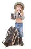Muchacha del niño - turista Imagen de archivo