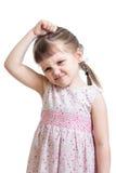 Muchacha del niño que hace el mún humor aislar Foto de archivo