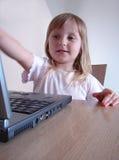 Muchacha del ordenador Fotografía de archivo