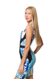 Muchacha del pelo rubio en el mini vestido azul aislado encendido Imagenes de archivo