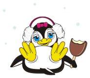 Muchacha del pingüino en auriculares grandes con el creame del hielo del chocolate Imagenes de archivo