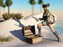 Muchacha del pirata de la fantasía con el tesoro en la playa Fotos de archivo