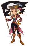 Muchacha del pirata del capitán de la historieta con Jolly Roger Fotografía de archivo libre de regalías