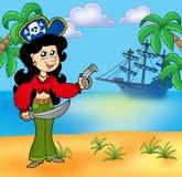 Muchacha del pirata en la playa 1 libre illustration