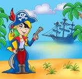 Muchacha del pirata en la playa 2 libre illustration