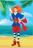 Muchacha del pirata en la playa tropical stock de ilustración