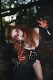 Muchacha del retrato con el pelo rojo y el vampiro sangriento de la cara, asesino, psico, tema de Halloween, mujer sangrienta Fotografía de archivo